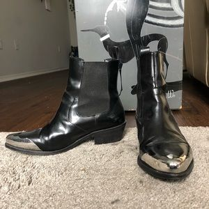 Patent Leather Chrome Tip Chelsea Boots